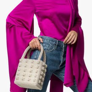 Beaded Handbags Handmade Weave Pearls Tote